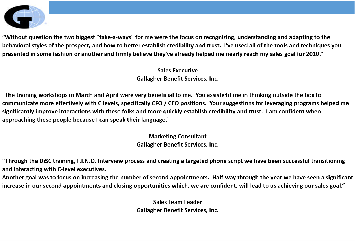 sample clients testimonials corporate s coaches gallagher